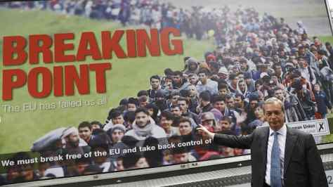 Leader of the United Kingdom Independence Party Farage poses during a media launch for an EU referendum poster in London